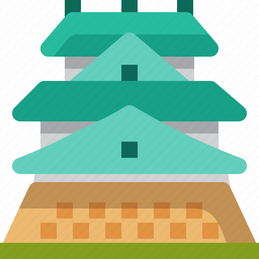 Architecture, building, castle, history, japan, landmark, osaka icon - Download on Iconfinder