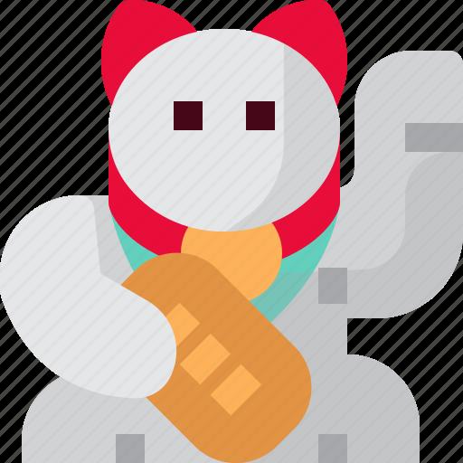 Animal, cat, cute, japan, maneki, neko, smiley icon - Download on Iconfinder
