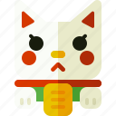 cat, lucky cat, maneki neko, toy icon
