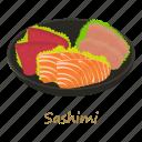 cartoon, fish, food, menu, plate, sashimi, sushi icon