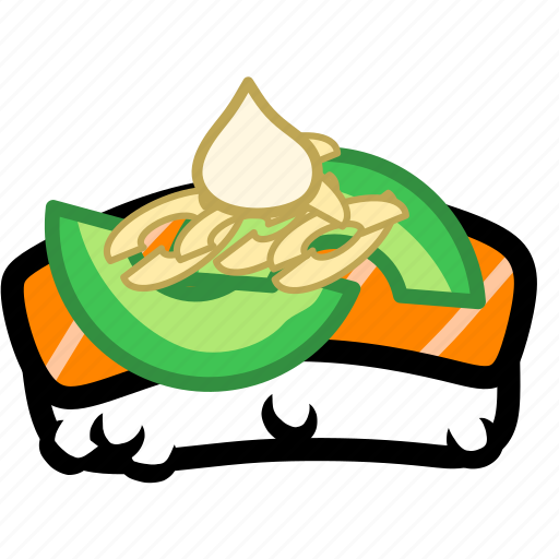 avocado, fish, japan, japanese, salmon, seafood, sushi icon