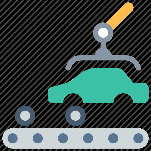 car, conveyor, factory icon