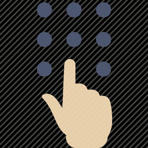 dial, enter, hand icon