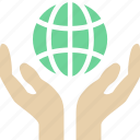 care, hands, world icon