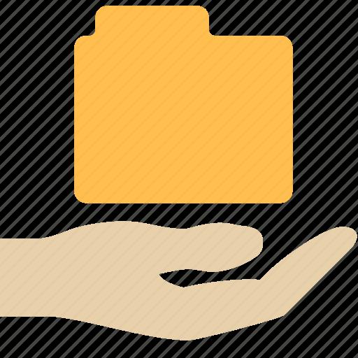 folder, hand, share icon