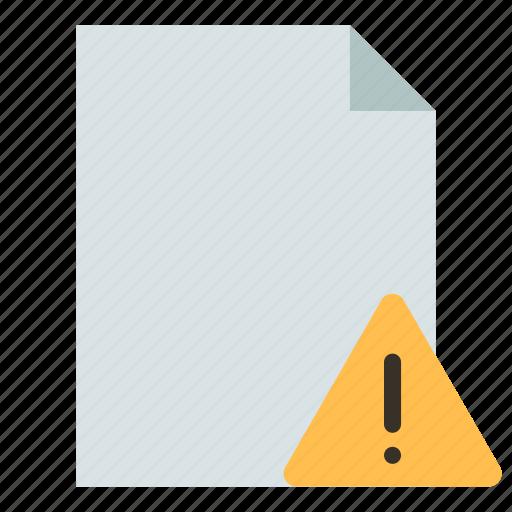 document, file, warning icon