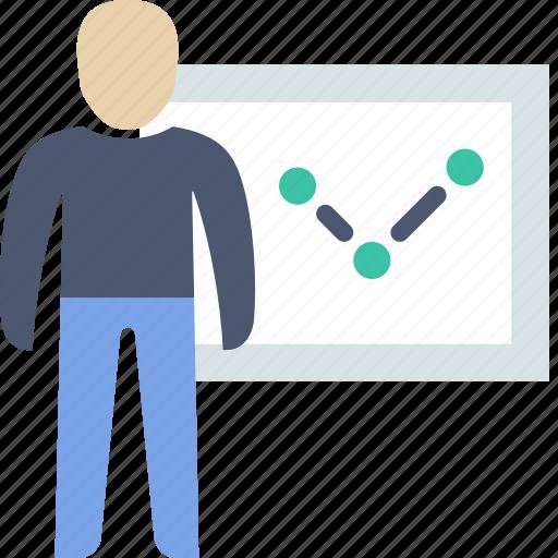 analytics, man, presentation icon