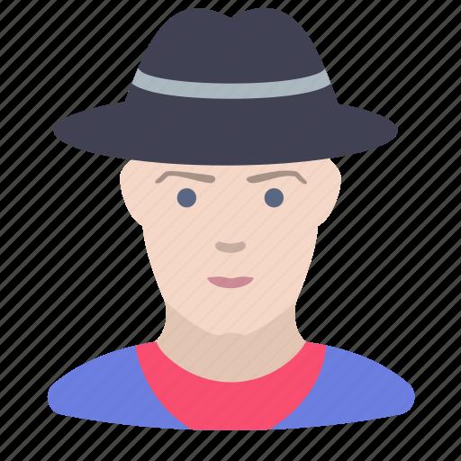 cowboy, man, person icon