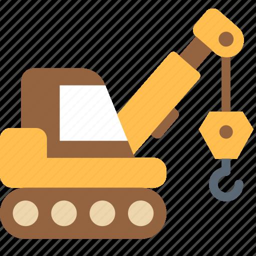 caterpillar, crane, machine icon