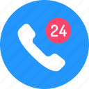 around the clock, call, day and night, hours, phone, service, support icon