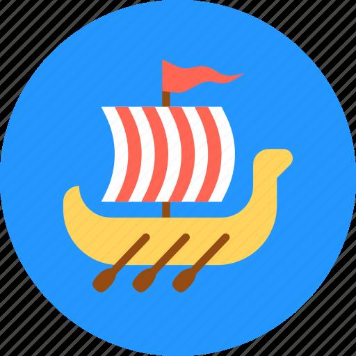 rowing, shallop, ship, slavs, viking icon