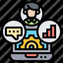 crm, customer, laptop, management, setup icon