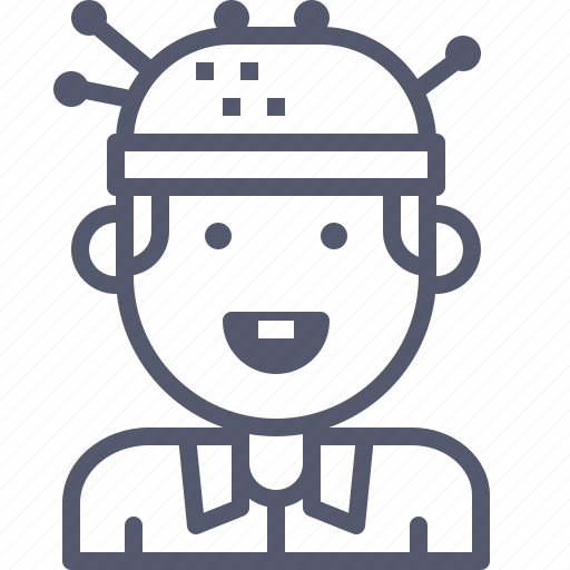android, brain, experiment, robot icon