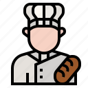 avatar, baker, bread, chef, food, occupation, profession icon