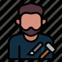 avatar, carpenter, craftsman, labour, occupation, profession, wood worker