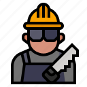 carpenter, furniture, job, labour, saw, wood, worker icon