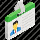 employee card, id, id badge, identity card, student id icon