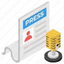 journalism, media, news release, newspaper, press conference, press release, publication icon