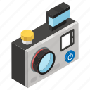 action camera, camera, digital camera, photographic equipment, photography, professional camera icon
