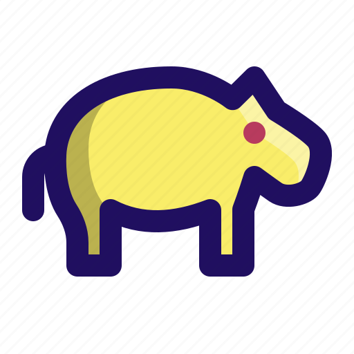 animal, hippo, hippopotamus, water, zoo icon