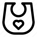 bib, line, wearing, wipe icon