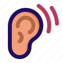 ear, hear, hearing, listen, sound, waves