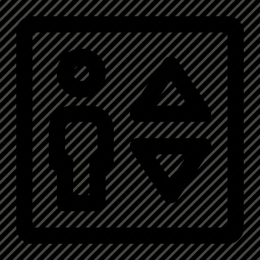 Cabin, elevator, lift, lifting, man, passenger icon - Download on Iconfinder