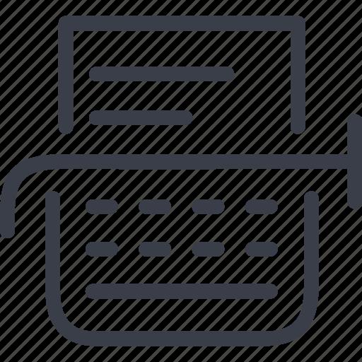 documentation, file, jurisprudence, paper, text, typewriter icon