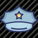 combination cap, military peaked cap, peaked cap, police cap, police uniform hat icon