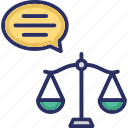 equity, fair decision, justice, justice verdict, scale of justice icon
