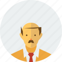 bald, bieber, boss, employee, man, old, stress icon