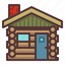 cabin, log, log cabin, logs, nature, outdoors, woods icon