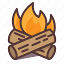 burning, camp, campfire, camping, fire, hot, log icon