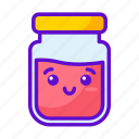 kawaii, food, cute, jar icon