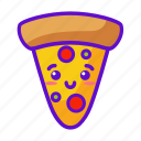 food, pizza, cute, kawaii icon