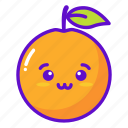 fruit, kawaii, cute, orange icon