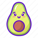 avocado, cute, fruit, kawaii icon