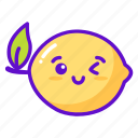 fruit, lime, lemon, cute, kawaii icon