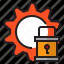 data, gear, key, lock, save icon