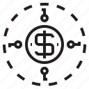around, coin, key, money, save, us icon