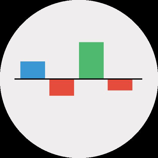 analytics, chart, down, keynote icon