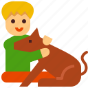 kid, boy, dog, pet, animal