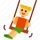 kid, play, outdoor, park, playground, swing icon