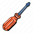 cartoon, construction, equipment, industry, repair, screwdriver, tool