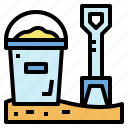 bucket, sand, scoop, summer, toys icon