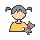 bear, child, cute, holding, little, teddy, toy icon
