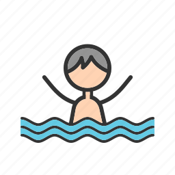 blue, cute, happy, kids, pool, swimming, water icon