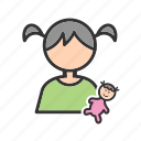 baby, child, doll, dolls, happy, home, playing icon