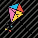 kite, toy, game, ribbon, flying toy, diamond kite, thread