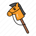 childhood, kid, playing, horse stick, toy, hobby horse, wooden horse